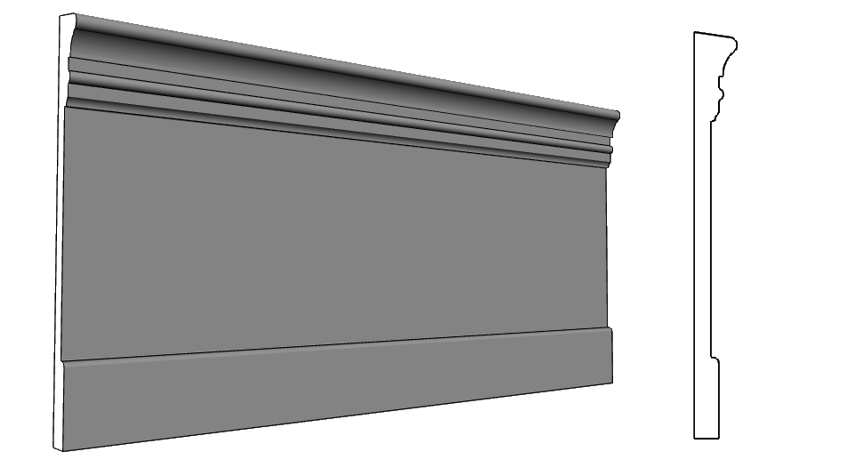 balza con battiscopa elemento architettonico per facciata alleggerito PL334