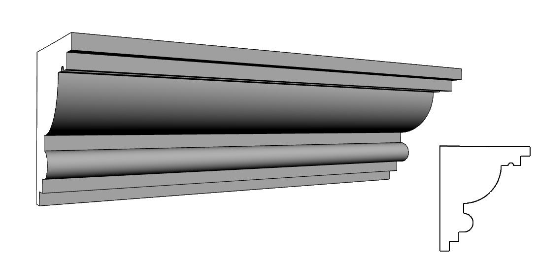cornicione per facciate in polistirolo rivestito PL85
