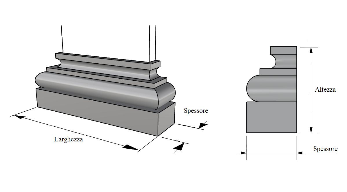 base lesena in polistirolo rivestito PL412