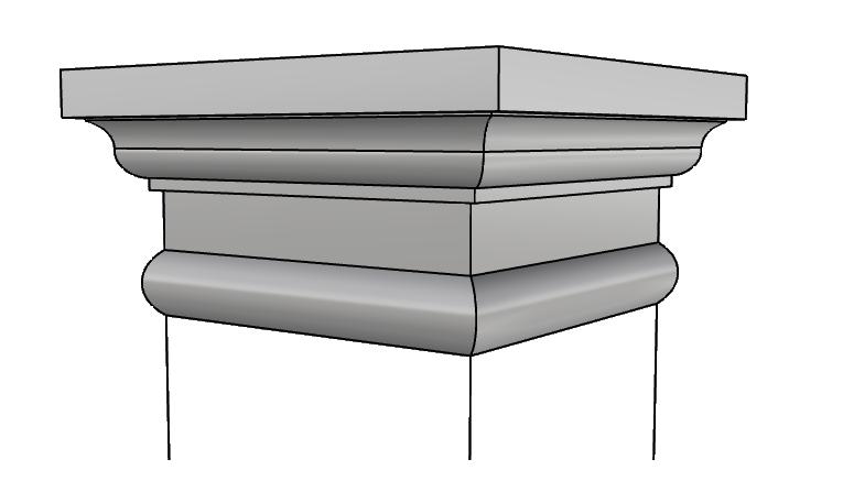 capitello squadrato in polistirolo rivestito PL429
