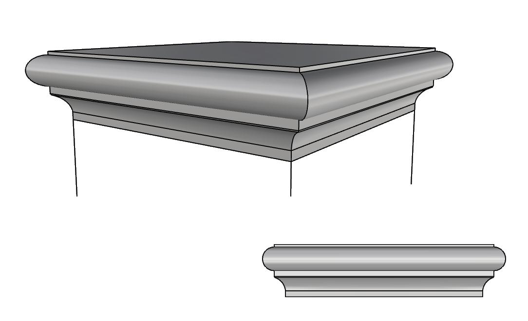 copricolonna in cemento alleggerito PL168