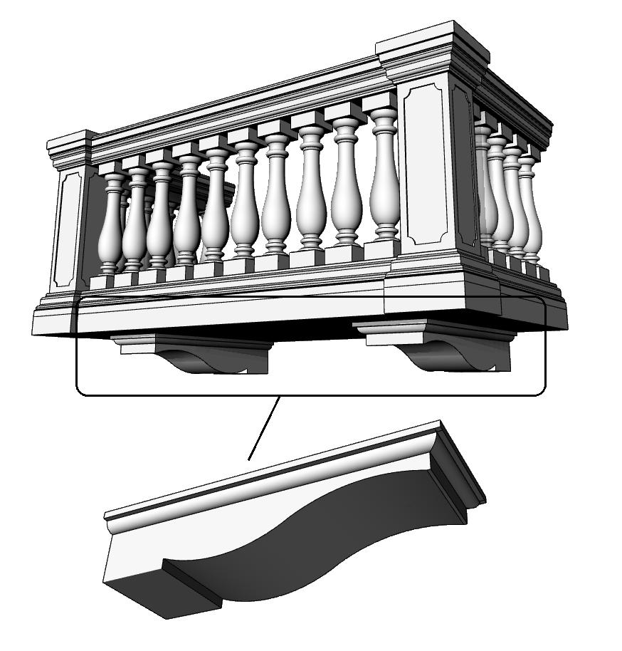 modiglioni o mensole sotto balcone