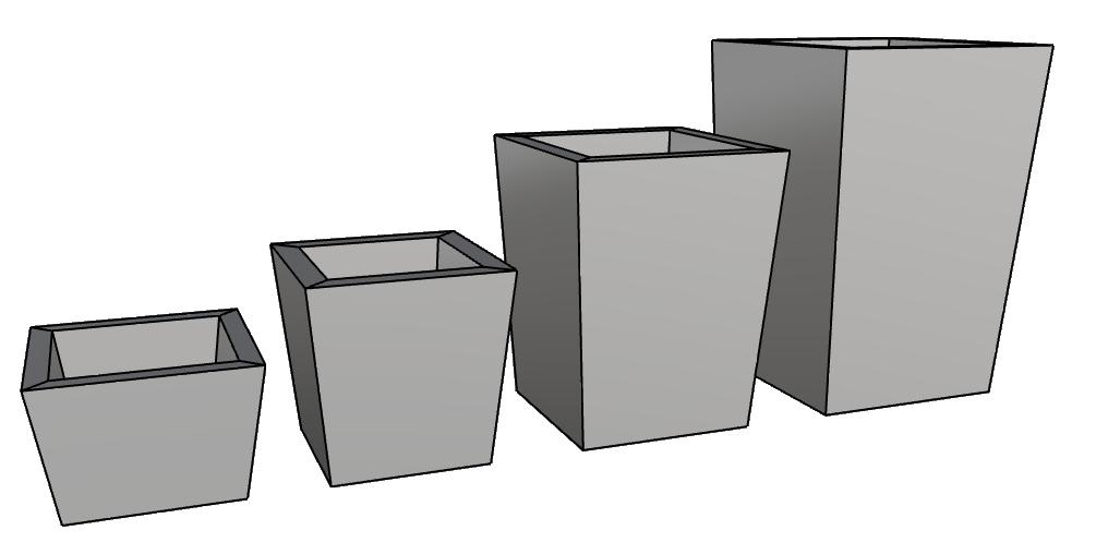 vasi design leggeri per interno e esterno piramidale basso PL56